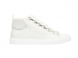 Balenciaga Arena Leather White Shiny Effect High Sneakers